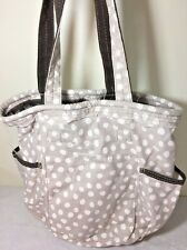Thirty-One Tote Bag White Polka Dots on Tan