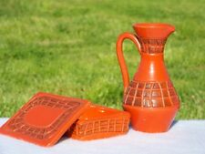 Vintage Italian Vase Mid Century Atomic Orange Art Pottery Pitcher Italy