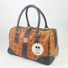 Authentic MCM Visetos Rudic Boston Bag Cognac Guaranteed Vintage Tote Bag MA086