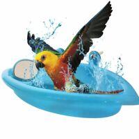 Plastic Birds Cage Bath Basin With Mirror For Pets Small Parrot Bathtub Feeding