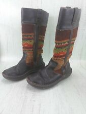 Born Womens Indian Blanket Wool and Leather Zip Boots Size 9.5 Zipper Boot