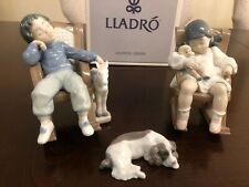 Lladro 3X Figurines Set Boy Girl Nap Time Rocker Chair Sleeping Dog 05846 05448