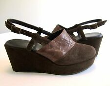 38 8 CORDANI DIONNE brown WEDGE PLATFORM MULES clog SUEDE PUMPS heels SHOES MINT