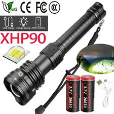 Powerful XHP90 LED Flashlight SWAT USB Rechargeable 18650 26650 Zoom Torch Light
