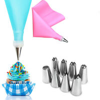 8* Nozzle Set Cake Decorating Tool + Silicone DIY Icing Piping Cream Pastry Bags
