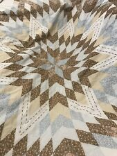 Vintage Twin Size Coverlet Quilt Throw Blanket Brown Blue Rustic Farmhouse Styke