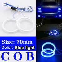 2x 70mm 12V-24V LED COB Blue Angel Eyes Halo Ring Kit Fog Driving DRL Light