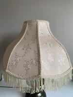 Vintage Victorian Large Ivory/Cream Scalloped Lamp Shade W/ Fringe