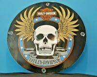 VINTAGE HARLEY DAVIDSON MOTORCYCLE PORCELAIN GAS BIKE SKULL WINGS SERVICE SIGN