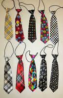 CHILDRENS/KIDS/BOYS/GIRLS SHINY SATIN FINISH PRE-TIED PATTERN ELASTIC NECK TIE