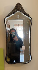 Vintage Etched Beveled Wall Mirror Ornate wood Victorian Jackson Antique 28�x13�