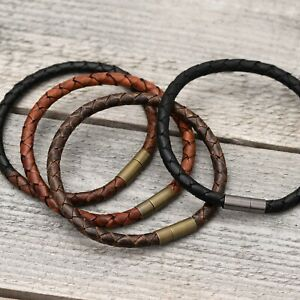 Braided Leather Bracelet Wristband Cuff with Brass Bayonet Clasp Antique Brown