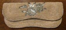 Vintage Beaded Faux Pearl Cream Clutch Handbag Evening Purse - Made in Japan