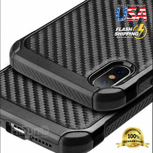 For iPhone 12 11 XR XS MAX 8 Plus Carbon fiber Hybrid Armor Shockproof Case