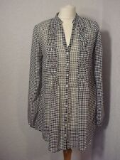 M&S Indigo navy blue checked chiffon tunic top 8-10