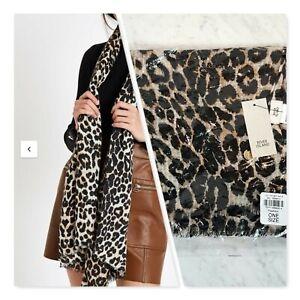 [ RIVER ISLAND ] Womens Leopard Print Lightweight Scarf   NEW