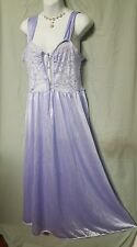 """Ventura SEXY LAVENDER  NYLON NIGHTGOWN WITH LACE TOP SIZE 5X GIFT 56"""" BUST"""