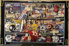 Original Vintage Poster Super Bowl 25 Helmet Collage NFL Vince Lombardi Pin Up