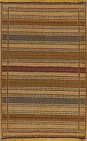 Flat-Weave Geometric Kilim Striped Hand-Woven Area Rug Wool Oriental Carpet 3x5