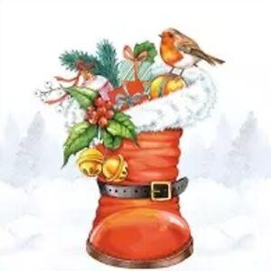 4 single paper napkins 33 cm, Christmas robin and Santa's boot, table, decoupage