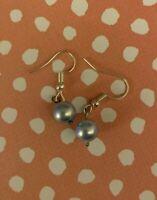 Brighton Light BLUE Pearl Beads Silver Dangle Custom Earrings