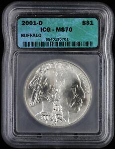 2001 D Buffalo Commemorative Silver Dollar ICG MS70