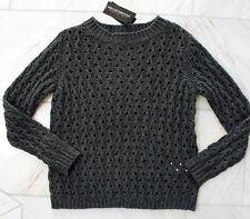 RINASCIMENTO Damen Pullover Strickpulli Wollmischung mit Alpaka S M 36 38 grau
