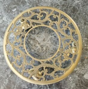 """1980's Vintage Ornate Brass Rolling Plant Caddy 11"""" Diameter made in Taiwan"""