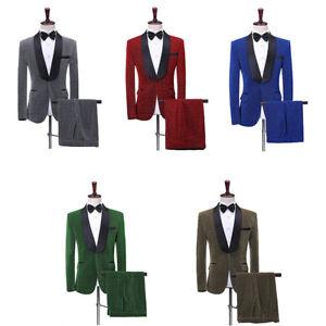 Men Shawl Lapel Suits Jacket Pants Groom Tuxedo Prom Dinner Costume Party Blazer
