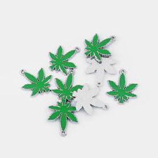 6 x Enamel Marijuana Cannabis Pot Weed Leaf Charms Pendants Beads 28x24mm