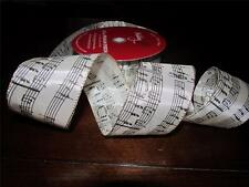 5 Yards 2.5 Wire Edged Music Note Christmas Ribbon~Tree Topper~Wreath Bow