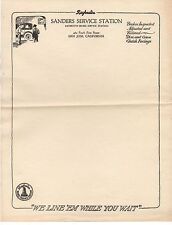 1920s Letterhead from San Jose CA for Sanders Service Station Raybestos Brakes