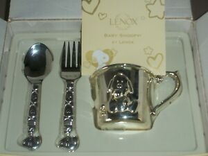 Lenox Baby Snoopy 3 Piece Silver Child's Feeding Set~Cup -Spoon-Fork