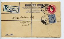 GB stationery registration registered envelope RP39G 1928 London >Sweden (Q677)