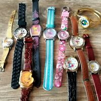 Lot 10 Vintage/Current Watches Disney Cartoon Mickey x2, Tweety x2 Winnie+ as is