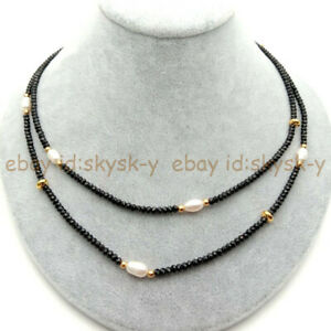 2 Rows 3mm Faceted Black Spinel & 6-7mm White Rice Pearl Necklace 17-18''