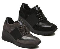 IGI & CO 21507 scarpe donna sneakers zeppa pelle camoscio slip on elastico stras