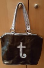 Fashion Express Black/Light Blue Letter T Purse