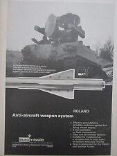 9/1974 PUB EUROMISSILE AEROSPATIALE MBB ROLAND GIAT AMX 30 AIR DEFENSE AD