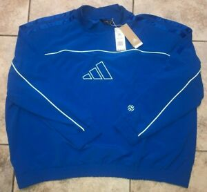 Mens Adidas Harden Cross Up Crew Basketball Sweatshirt Pullover Blue 3XL NWT $75