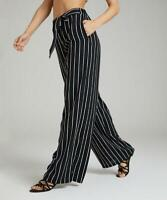 Suzanne Betro Women's Wide Leg Stripe Tie-Front Palazzo Pants (Black, 3X)