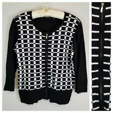 Orly XXL Black with White 3/4 Sleeve Zip-Up Cardigan Sweater