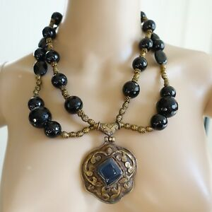 Bold Black Onyx Beaded Necklace Brass Accents Blue Agate Pendant