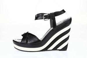 Stuart Weitzman Black White Leather Wedge Ankle Strap Sandals Size 8.5 M New