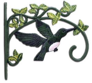 Green Hummingbird Large Plant Hanger Cast Iron Flower Basket Hook