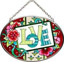Joan Baker Designs LOVE NOTE Painted Glass Small Oval Suncatcher Floral