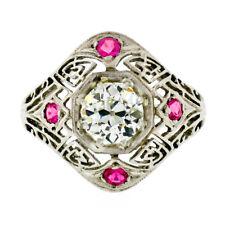 Antique Art Deco 14k Gold 1.01ct GIA Old European Diamond Open Engagement Ring