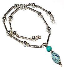 "16"" Silver Turquoise Choker Necklace Glass Bead Pendant Antique Tibetan Style"