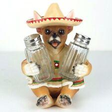"Salt & Pepper Shaker Chihuahua Dog Fiesta Flavor Figurine Miniature 7""H New"