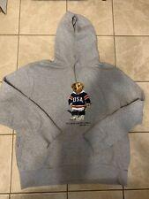 Polo Ralph Lauren Hockey Bear Hooded Sweatshirt USA Hoodie Hoody Sz XXL 2XL
